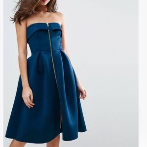 ASOS Scuba Zip Front Midi Prom Dress